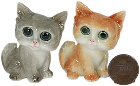 2 Grandes Ojos gatos/gato Estatua Animal miniatura de cerámica pintada a mano de cerámica (2