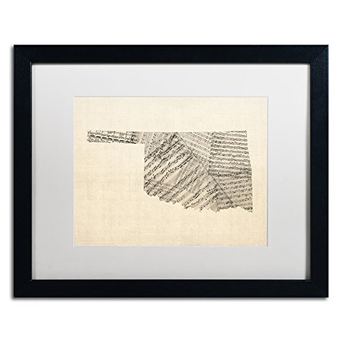 Old Sheet Music Map of Oklahoma by Michael Tompsett in White Matte and Black Framed Artwork, 16 by 20