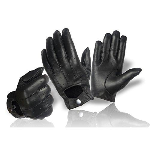 Echt Leder Herren Handschuhe zum knöpfen klassisch | Damen Lederhandschuhe | Autofahrer Motorrad Reiten | Größe: S - XXL (S)