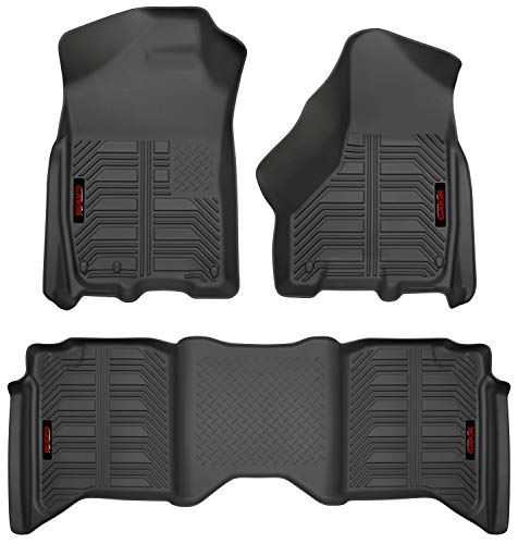 Gator 79602 Black Front and 2nd Seat Floor Liners Fits 09-18 Ram 1500 Crew Cab, 10-18 Ram 2500/3500 Crew Cab, 2019 Ram 1500 Classic Crew Cab