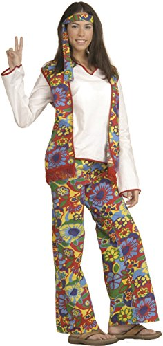 Forum Novelties Women's Hippie Dippie Costume 60S 70S Bell Bottoms Halloween One Size Fits Most ()