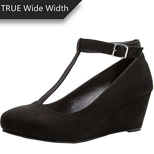 Pictures of Luoika Women's Wide Width Wedge Shoes - Black 6 W(W)US 1