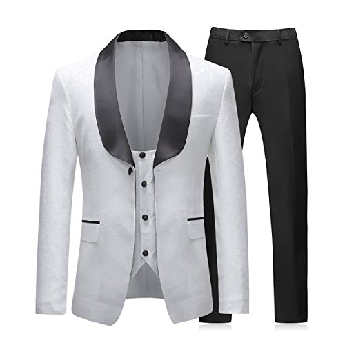Boyland Men's Dress Tuxedo Suit Formal Wedding Slim Fit Stylish BlazerJackets Vest Pants White