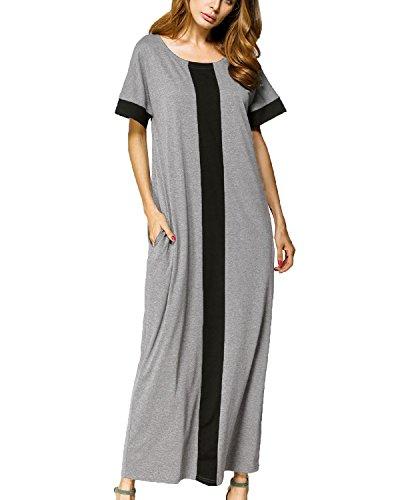 Auxo Women Short Sleeve Maxi Dress Colorblock Loose Kaftan Long Dress Beach Wear