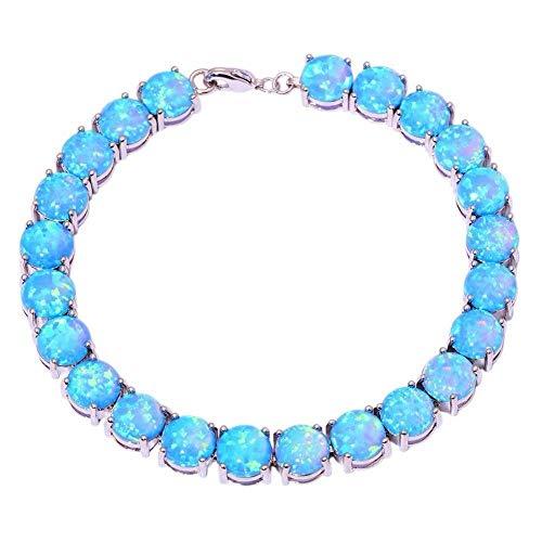 BIG- DEAL Blue Fire Opal Silver for Women Jewelry Gemstone Chain Bracelet