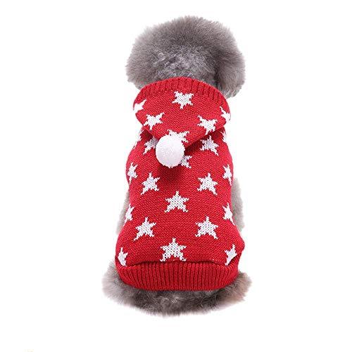 Cute Hoodie Sweater for Dogs,Pet Cat Winter Winter Warm Pentagram Hooded Coat Costume Apparel T-Shirt Winter Warm T Shirt Red XL
