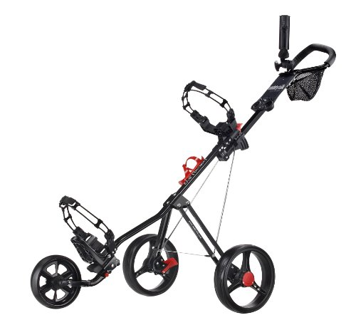 CaddyTek SuperLite Deluxe Golf Push Cart, Black (Golf Club Caddy)