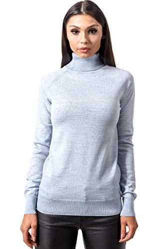 (KNITTONS Women Italian Merino Wool Turtleneck Sweater Long Sleeve Pullover (Medium/US 8-10, Sky Blue)