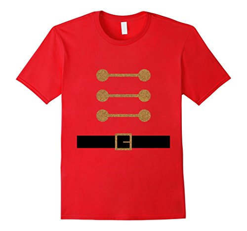 [Mens Cute Christmas Gold Glitter Toy Soldier DIY Costume T Shirts Large Red] (Soldier Homemade Costume)