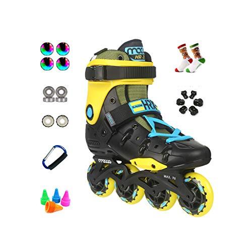 ノミネート驚いた検閲ailj インラインスケート、アダルト単列スケートローラースケートプロのメンズレディーススケートフルセット(3色) (色 : 白, サイズ さいず : EU 43/US 10/UK 9/JP 26.5cm)
