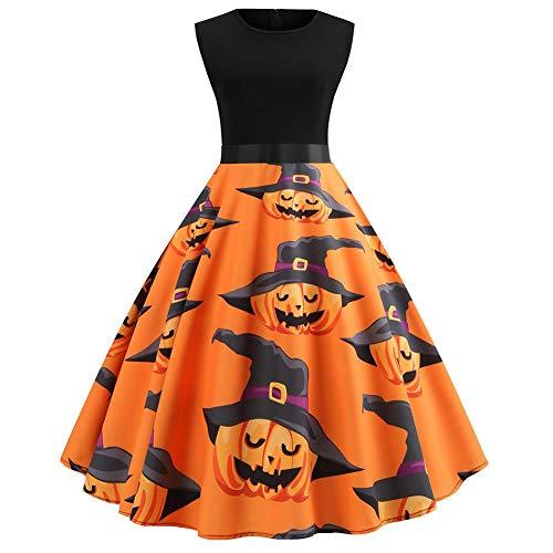 iBelly Halloween Vintage Dress Women Pumpkin Pattern Evening Dress Sleeveless Round Neck Swing Party Dress