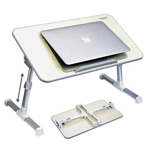 Avantree Minitable Bett Tablett Laptop Betttisch, Tragbarer Laptoptisch Laptopständer, Klappbarer Sofa Frühstücks Tisch, Verstellbarer Notebooktisch Bücherständer