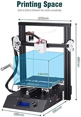 FLOUREON J1 Impresora 3D DIY de Aluminio con Estructura de Metal Completa Alta Precisión Pantalla LCD con Retroiluminación