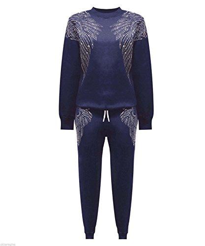 Janisramone - Nuevo chándal para mujer / señora, alas de ángel de tachonado de diamantes de imitación, traje de calle de 2 piezas, sudadera parte de arriba y parte de abajo azul marino
