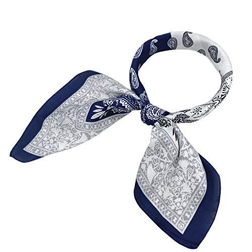 YOUR SMILE Silk like Scarf Women's Fashion Pattern Large Square Satin Bandanas Headscarf Headdress 24''x24'' (111)