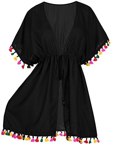 LA LEELA Women's Plus Size Kimono Cardigan Swimsuit Cover Up US 16-28W Black_B57 (Swim Cover Up Plus Size)
