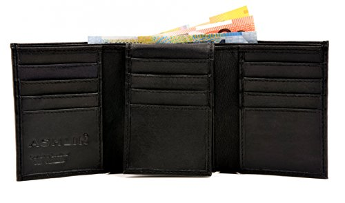 ASHLIN Men's Tri-fold Wallet - 100% Lambskin Napa | 16 + 4 Card Pockets | Double Billfold Section | 1 ID Window | Midnight Black ()