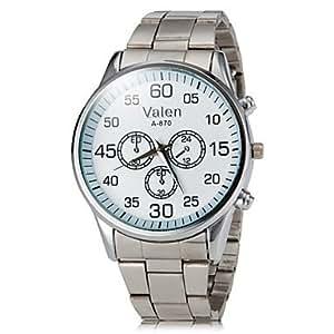 ZA Men's Casual Style Silver Steel Band Quartz Wrist Watch (Delivery color random)