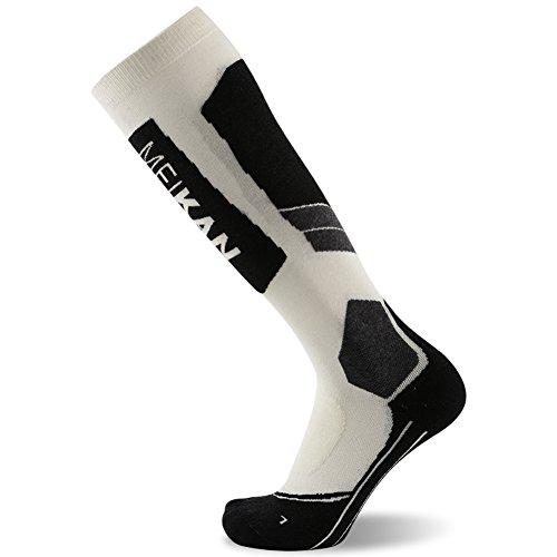 (Elite Wool Race Ski Socks - Warm Comfortable Snowboard/Skiing Socks for Men 1 Pair (White & Black, Large))