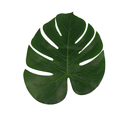 (Artificial Tropical Green Plant Leaves Hawaiian Luau Party Jungle Beach Theme Decorations for Birthdays Prom Events (JH05)(Dark,12)
