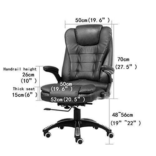 Kontorsstol – verkställande stol ergonomisk design 360° rundriktad rotation vilande funktion fast armstöd svart
