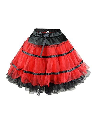 [NawtyFox Plus Red Tutu Petticoat Dance Skirt] (Plus Size Ballerina Costumes)