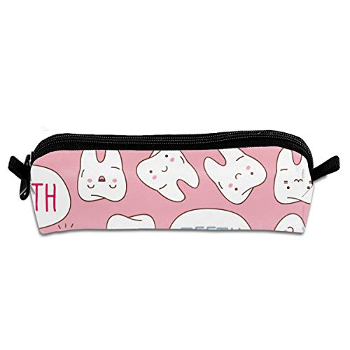 Polyester Pens Pencil Case with Zipper, One Pocket Pen Organizer for Office Supply Accessories for Teen Student Kids Painter, Kawaii Dentist Teeth Pink Pencil Pouch Bag