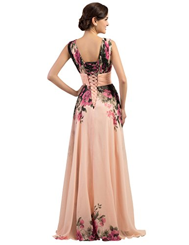 Elegante Floral Noche Largo Karin Mujer Grace De Estampado Vestido 4RttP0