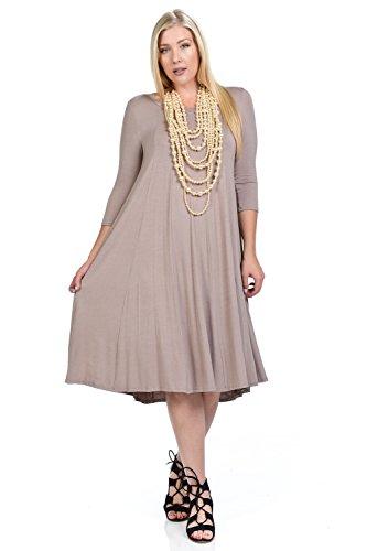 (Pastel by Vivienne Women's A-Line Trapeze Midi Dress Plus Size X-Large Taupe)