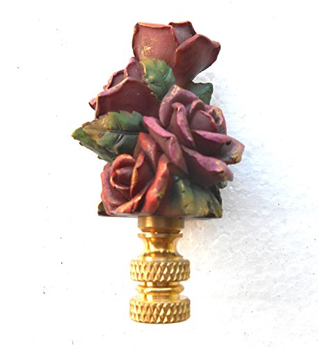 Antiqued Red Rose 3-inch Decorative Lamp Finial