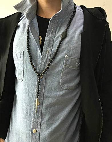 WDFZHFX Collier Homme Pierres avec Pique Pique Mens Chapelet Gothique Collier Bijoux pour Hommes