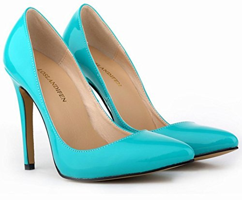 yards Pointed high leather wedding large heels shoes ZCH banquet dress high female shoes heels Patent party 35 42 qw8Yq7XI