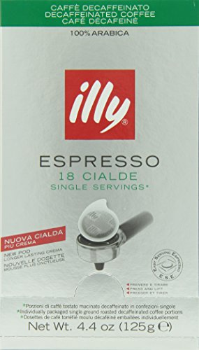 Illy Caffe Decaffeinated Coffee Espresso (Regular Roast, Green Band), 18-Count E.S.E. Pods (Pack of 2)