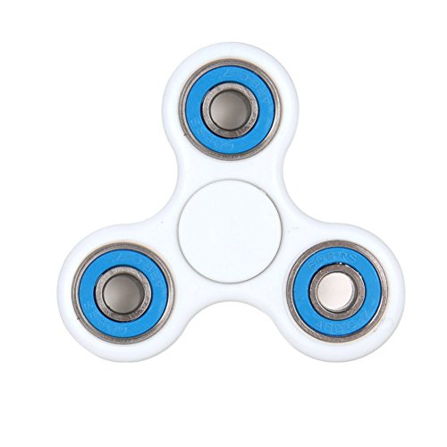 Balai Tri-Spinner Fidget Toy Hand Spinner EDC Focus Toy Perfect For ADD, ADHD, Anxiety, and Stress Relief (White Blue))