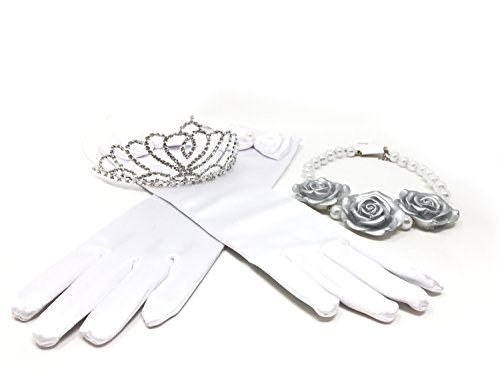 Princess Crystal Dress up Party Accessories Gift Set (Silver)