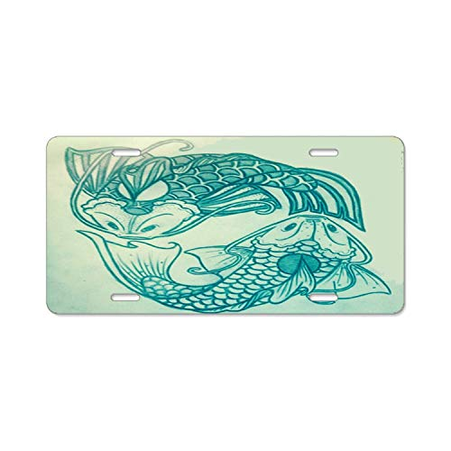 YEX Abstract Fish Tee License Plate Frame Car Licence Plate Covers Auto Tag Holder 6
