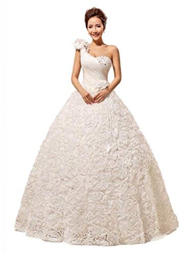 YACUN New One Shoulder Lace Flowers Wedding Dress Wedding Gown Custom Size HS291