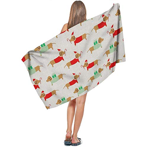 DoorSignHHH Indoor/Outdoor Comfortable Extra Large Bath Towel Christmas Darlings Dachshunds Quick Dry Absorbent Cute Yoga 27.5