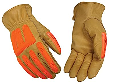 Kinco 98A HI-VIS Top-grain Cowhide Leather Ranch and Work Glove with Impact Protection