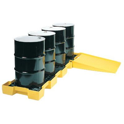 eagle-1647-yellow-and-black-polyethylene-4-drum-in-line-spill-containment-platform-with-flat-top-gra