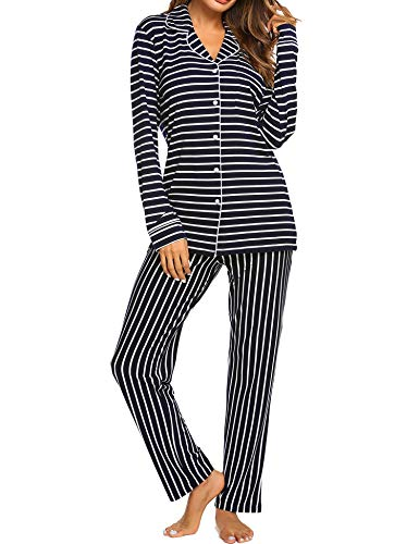 Ekouaer Sleep Set Women's Lightweight Sleepwear Long Sleeve Pajamas Soft Nightwear Set (Navy,L