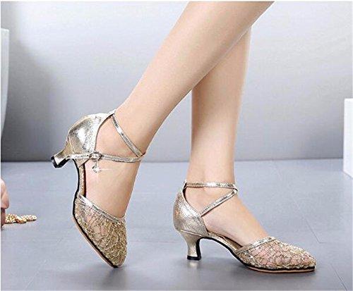 SQIAO-X- Scarpe da ballo Mesh Suola in gomma Flip capelli morbidi Kraft, per adulti di ballo latino ballo sociale Square Dance Professional scarpe da ballo, oro (5,5 cm fondo morbido ),40