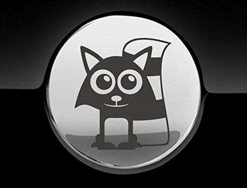 JCM Adorable Raccoon Fuel Cap Cover Car Sticker, Charcoal