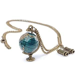Zehui Fashion Jewelry Vintage Bronze Globe Telescope Charm Necklace Pendant