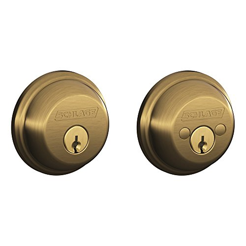 Schlage B62N609 Deadbolt, Keyed 2 Sides, Antique Brass
