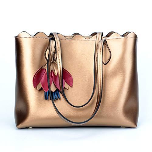 Cuero De Kervinzhang Ocio Mano Silver Mujeres Bronze Bolso Las color Paquete Diagonal Hombro wTxqZ