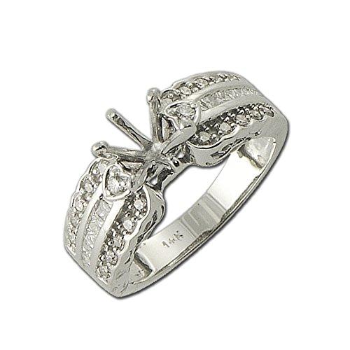 (TriJewels Diamond Round & Princess Cut Semi Mount Ring 0.50 ct tw 14K White Gold.size 8.0)