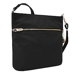 Travelon Women\'s Anti-Theft Tailored N/s Slim Cross Body Bag, Onyx, One Size