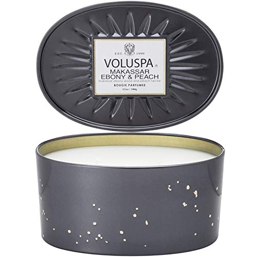 Voluspa Makassar and Ebony 2 Wick Candle In Decor Oval Tin, 12 Ounce