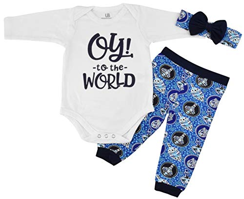 Unique Baby Girls Oy! to The World Hanukkah Layette Outfit Headband (Newborn) Blue ()